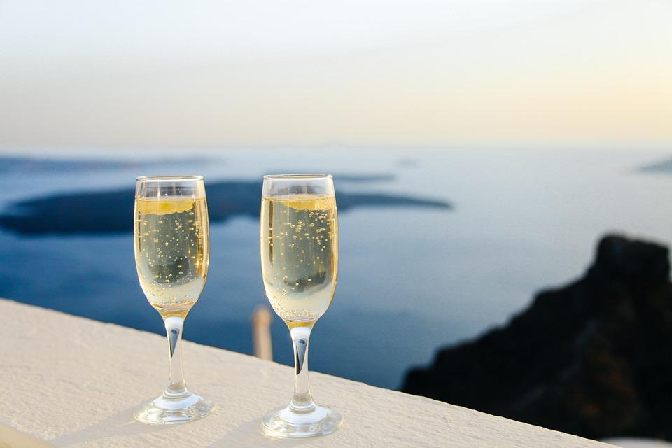 Sparkling Wine, Bubbles, Glasses, Pair, Champagne, Wine